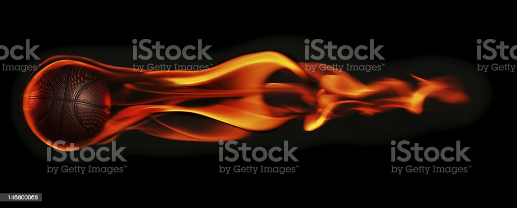 Basketball with Flames royalty-free stock photo