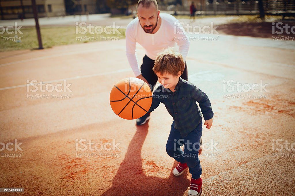 Basketball with my dad stock photo