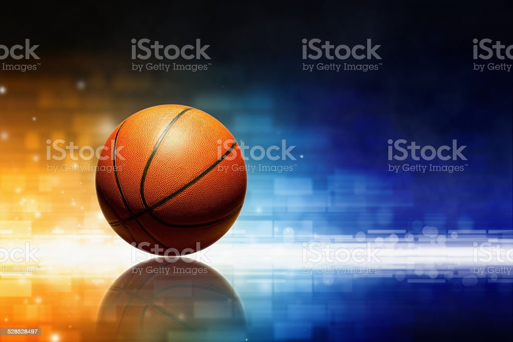 Basketball with reflection stock photo