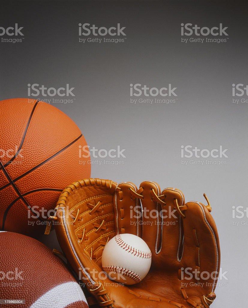 Basketball,Baseball,& Football royalty-free stock photo
