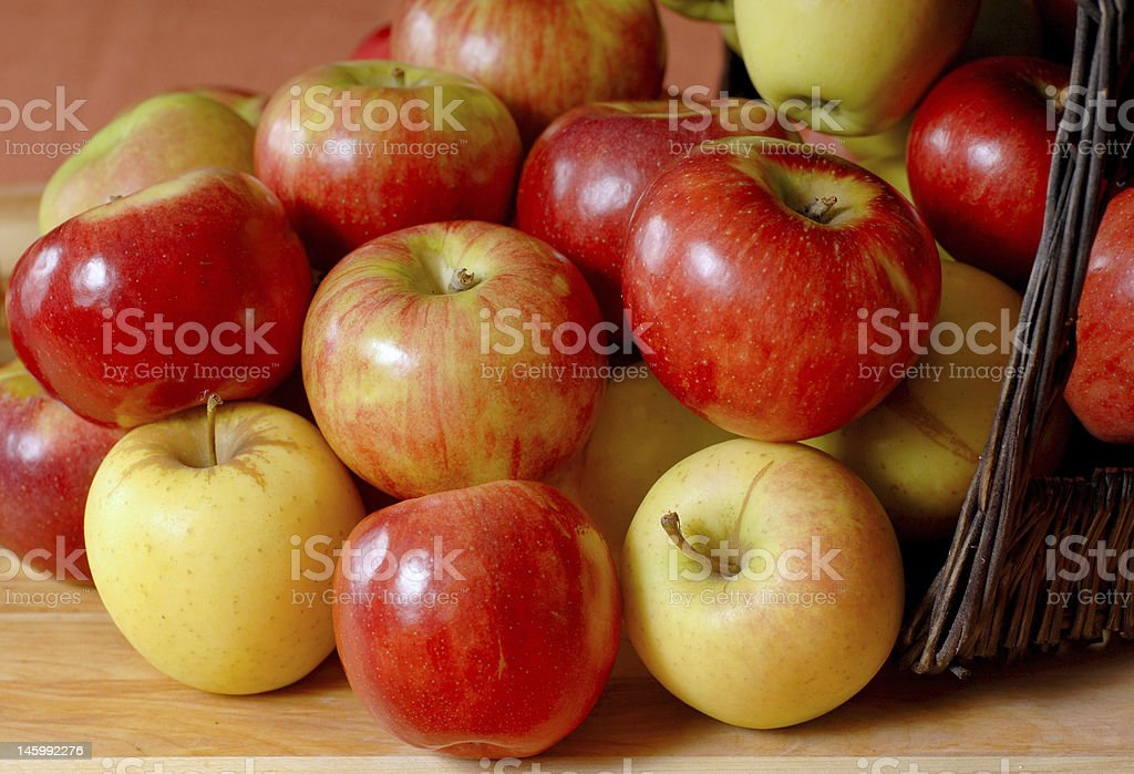 Basketfull of apples overflowing onto a table royalty-free stock photo