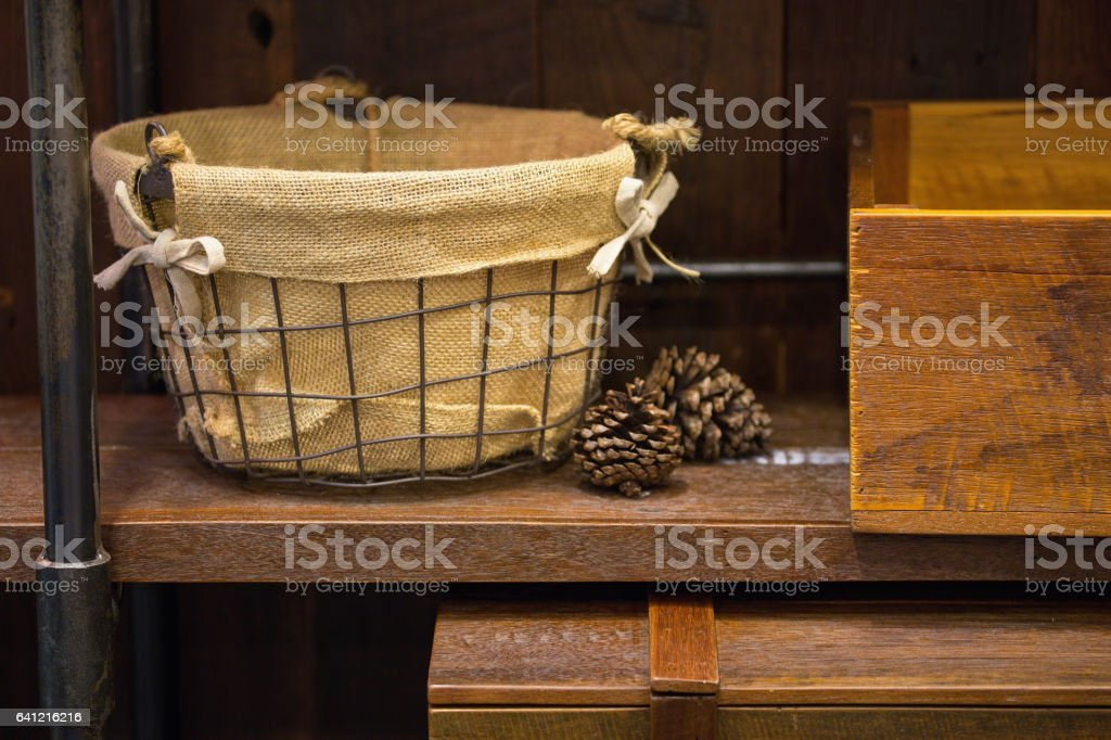 Baskets and wooden cases stock photo