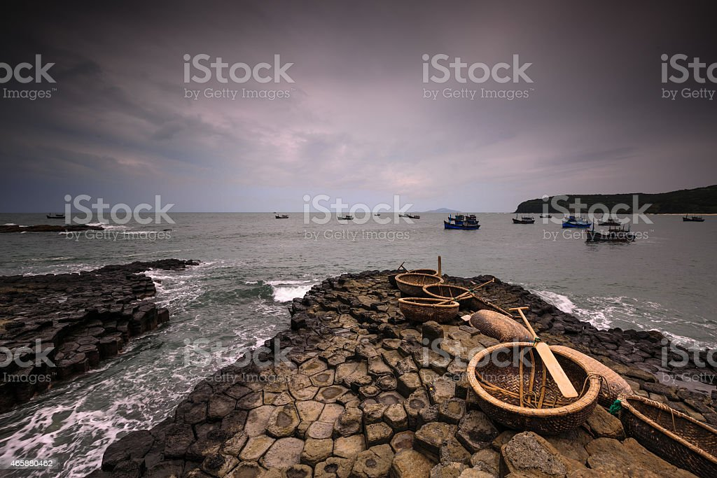 Baskets boats stock photo
