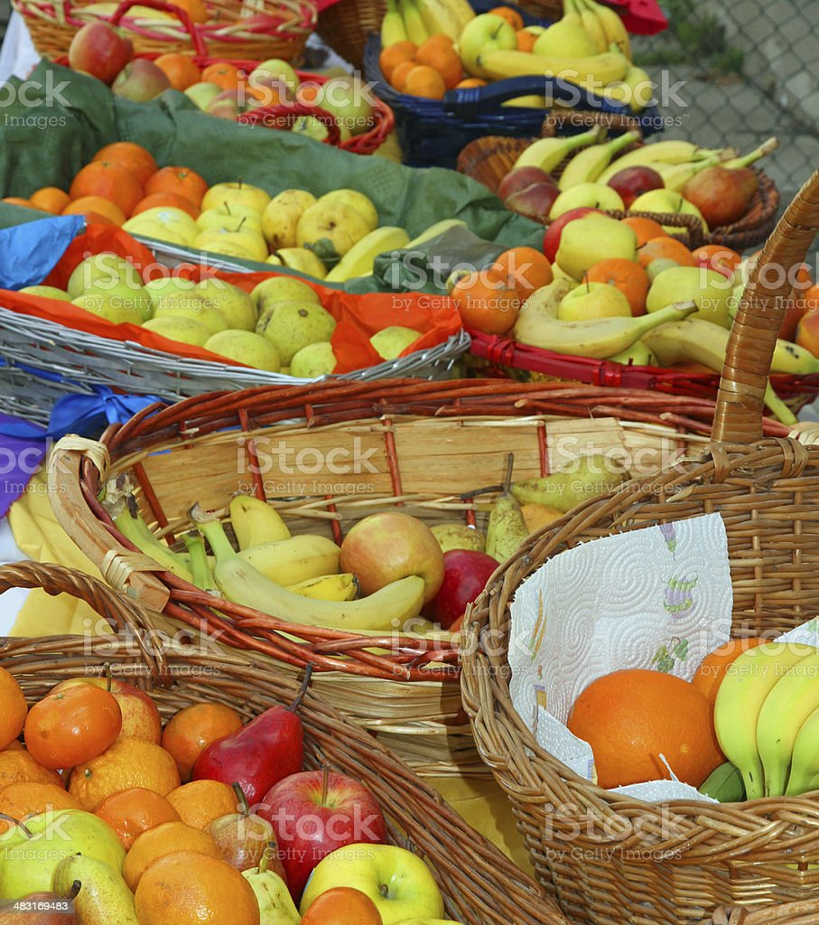 baskets filled with excellent fresh fruit with oranges royalty-free stock photo