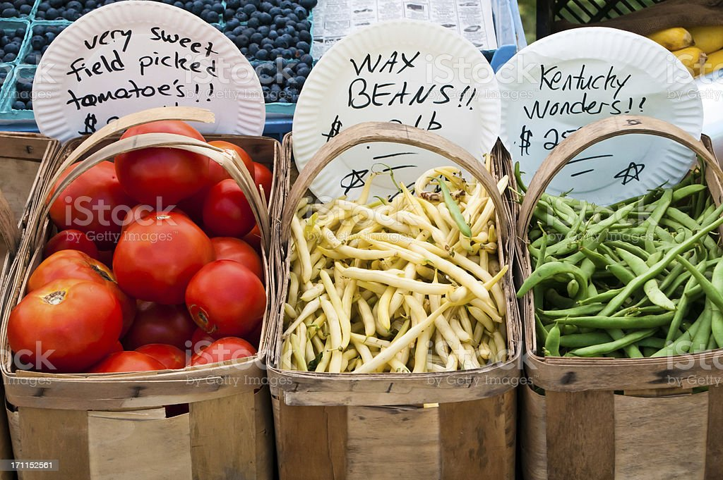 Baskets of Beans and Tomatoes royalty-free stock photo
