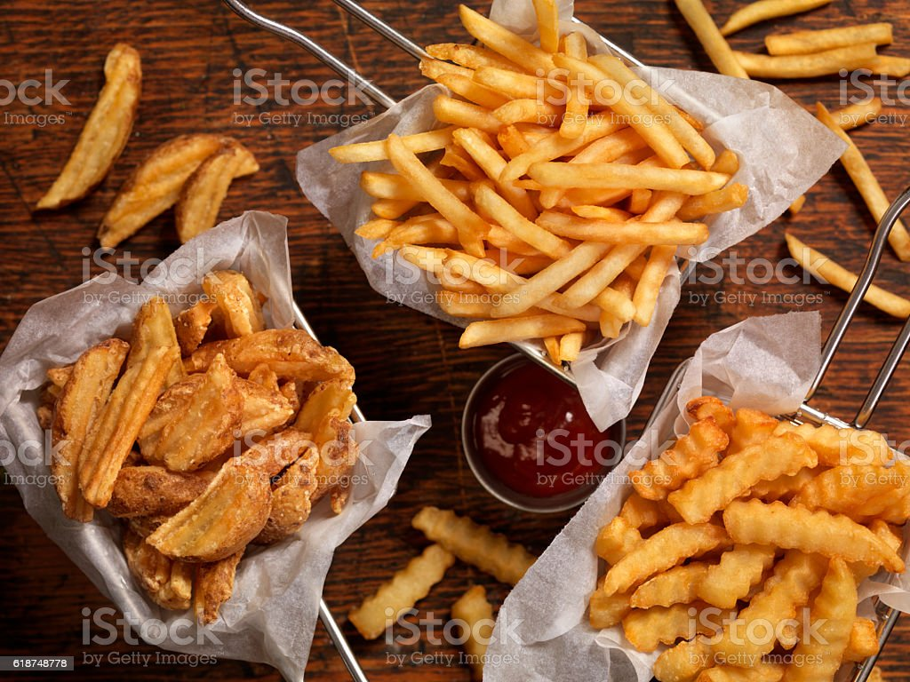 Baskets of French Fries stock photo