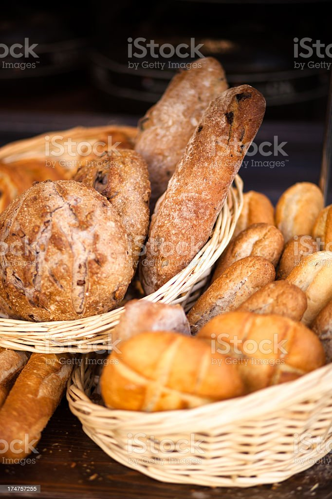 Baskets of Fresh Bread royalty-free stock photo