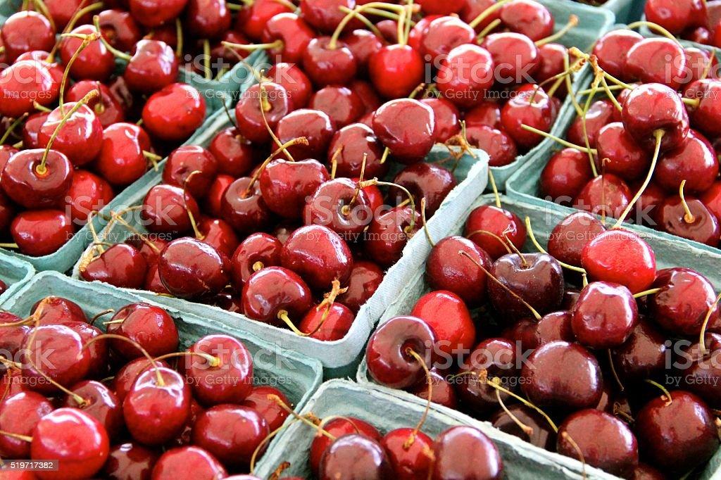 Baskets of Fresh Cherries stock photo