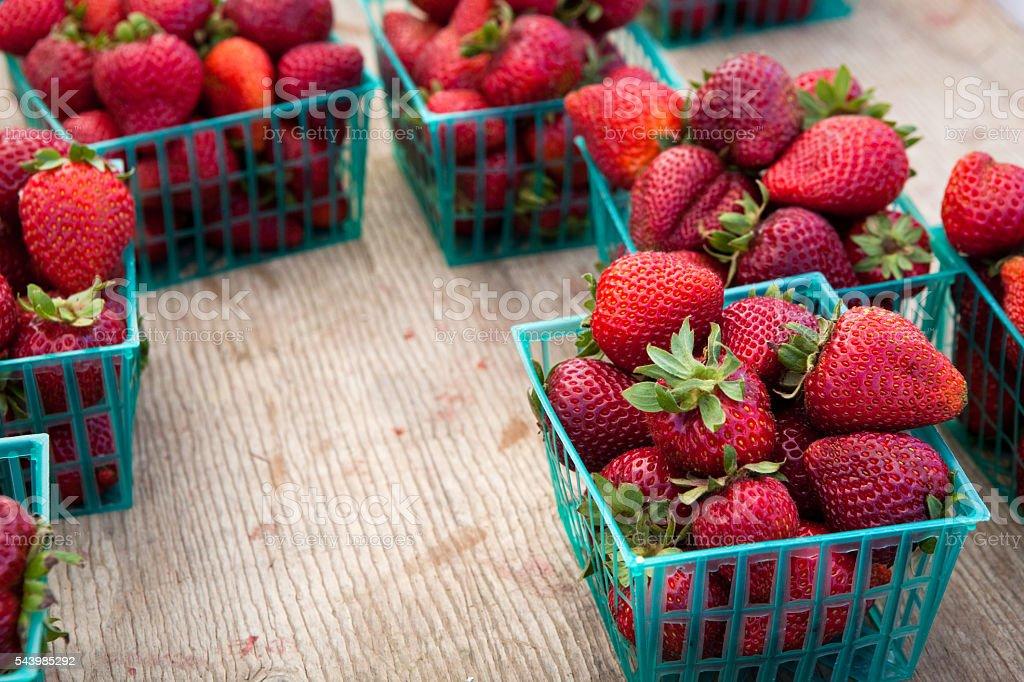 Baskets of Fresh Strawberries stock photo