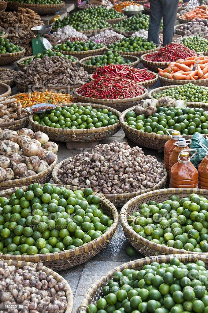 Baskets Of Fruit At A Street Market In Hanoi, Vietnam royalty-free stock photo