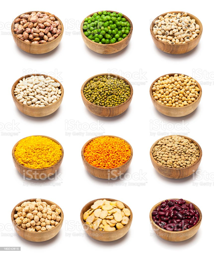 Baskets of multiple leguminous seeds stock photo