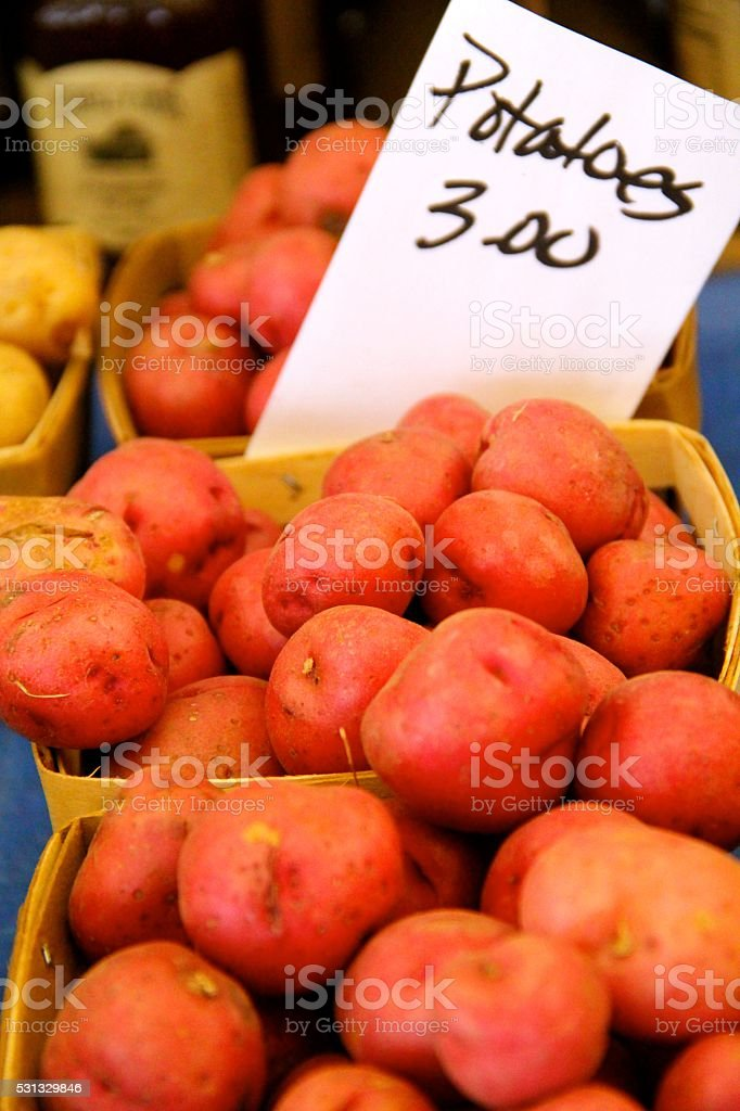 Baskets of Red Bliss Potatoes stock photo