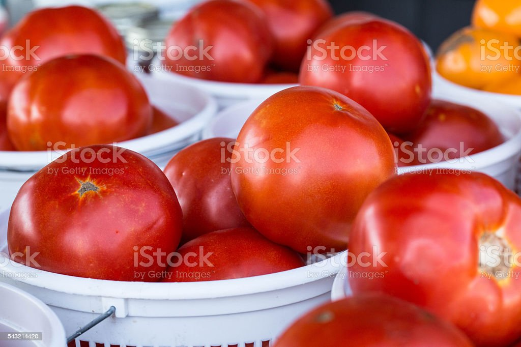 Baskets of Ripe Red Tomatos at Farmers Market stock photo