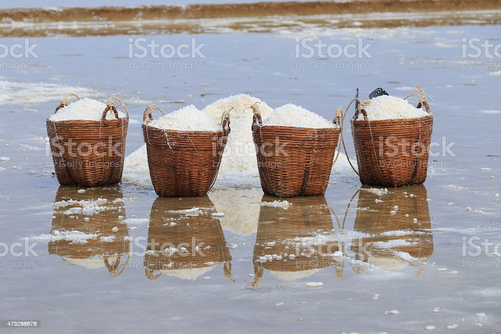 Baskets of salt in Can Gio, Vietnam royalty-free stock photo
