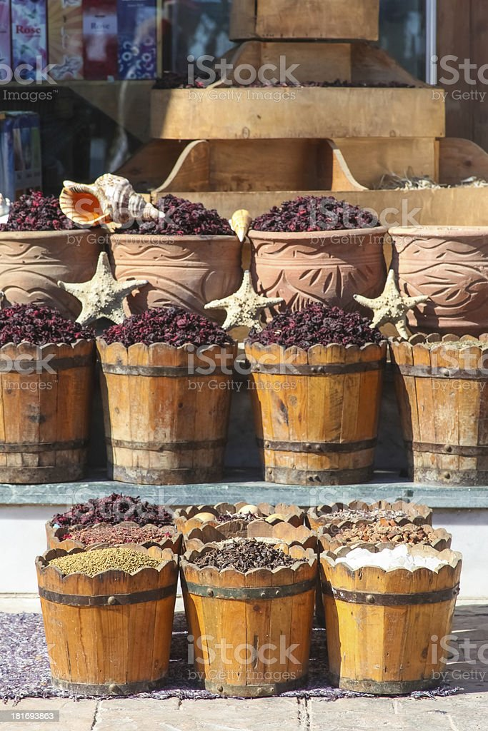 Baskets of spices royalty-free stock photo