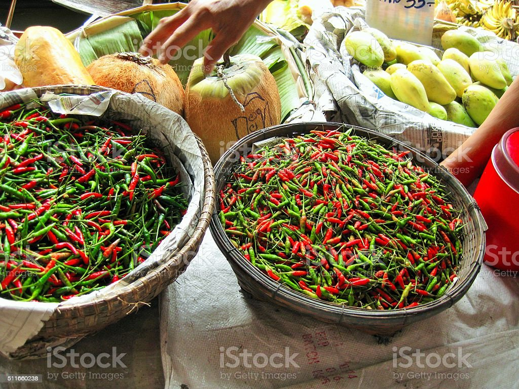 Baskets of spicy pepper stock photo