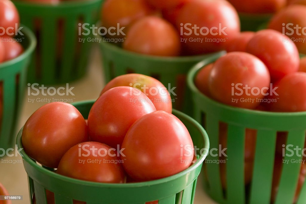 Baskets of tomatoes royalty-free stock photo
