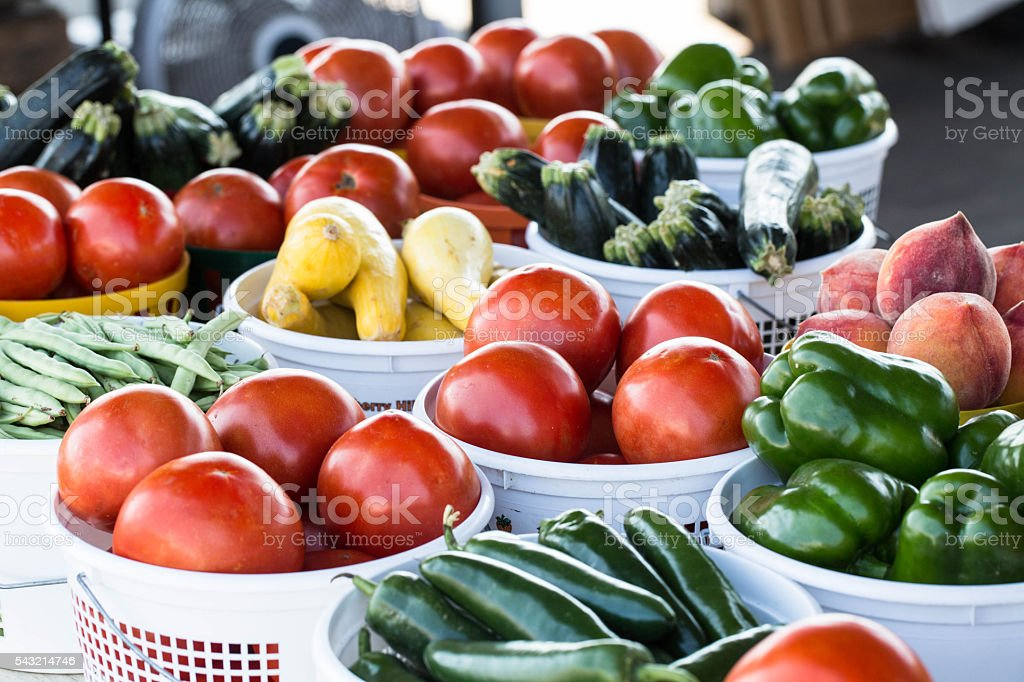 Baskets of Vegetables at Farmers Market stock photo