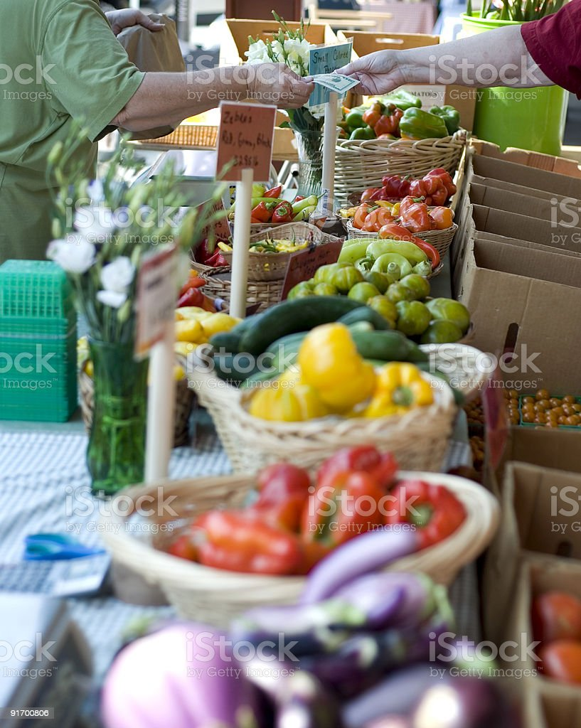 Baskets of vegetables at the farmers market royalty-free stock photo