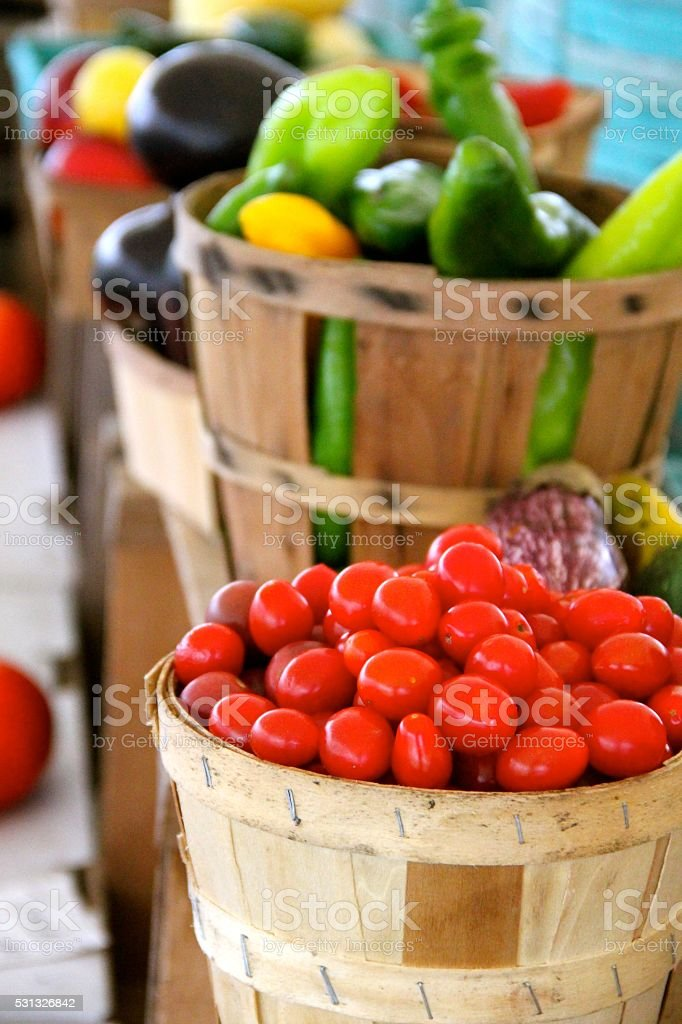 Baskets of Vegetables stock photo