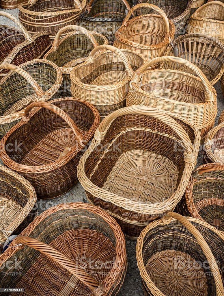 Baskets on a market royalty-free stock photo