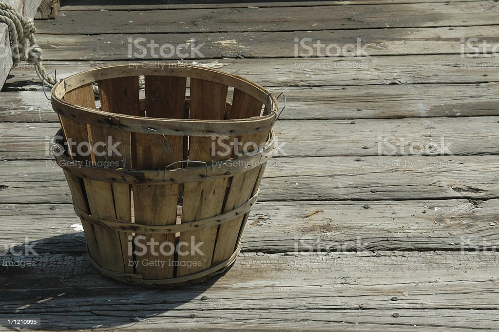 baskets on the dock stock photo