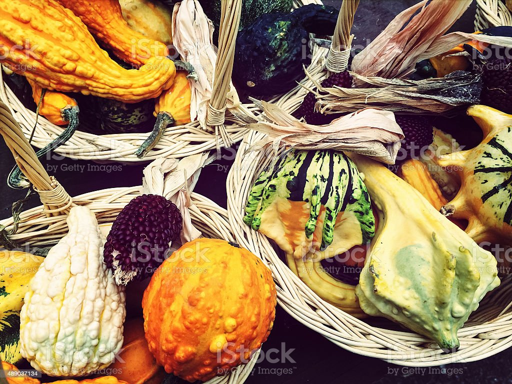 Baskets with colorful autumn vegetables stock photo