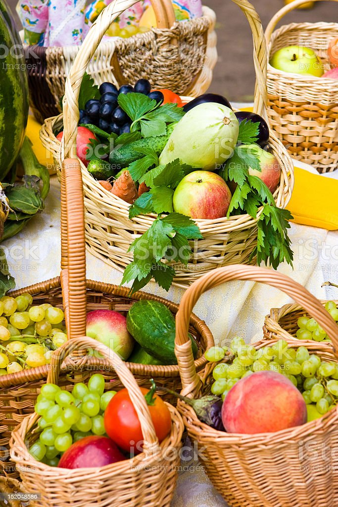Baskets with food stock photo