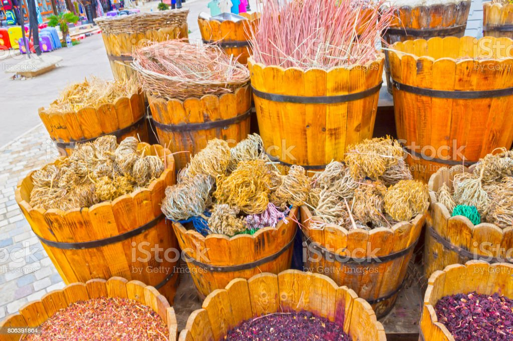 Baskets with spicery on east bazaar stock photo