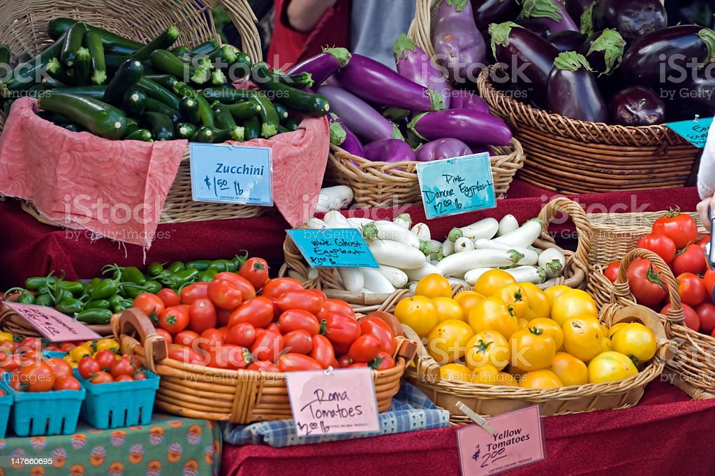 Baskets with zucchini, eggplants and tomatoes at a market royalty-free stock photo