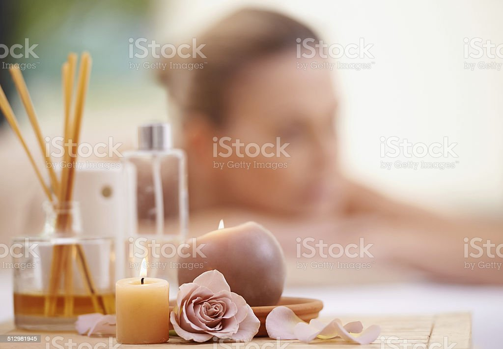 Basking in the afterglow of her massage stock photo
