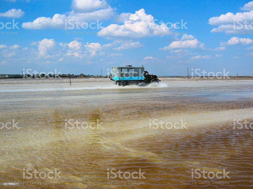 Baskunchak salt extraction, Russia stock photo