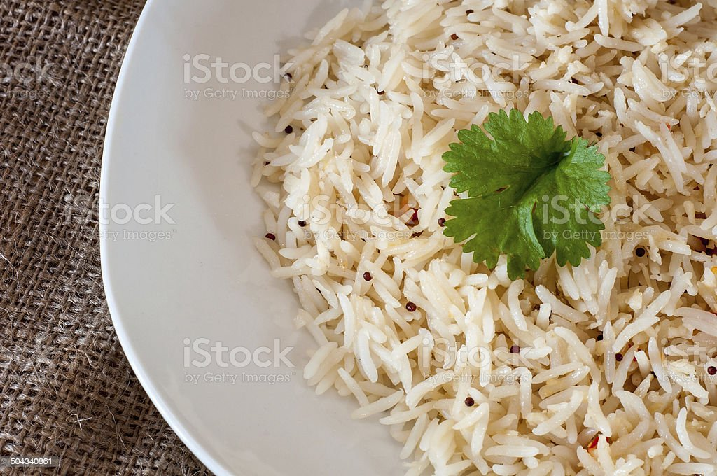 Basmati Cooked rice on a white plate stock photo