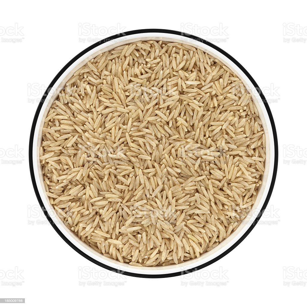 Basmati rice in a bowl from directly above stock photo