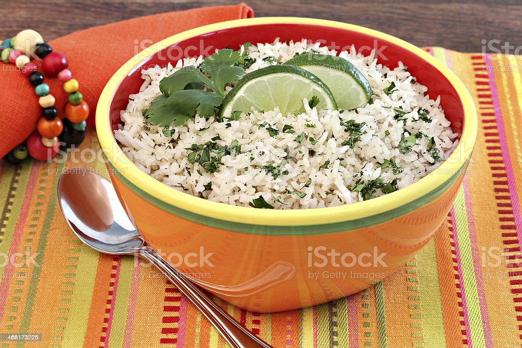 Basmati Rice with Cilantro and Lime stock photo