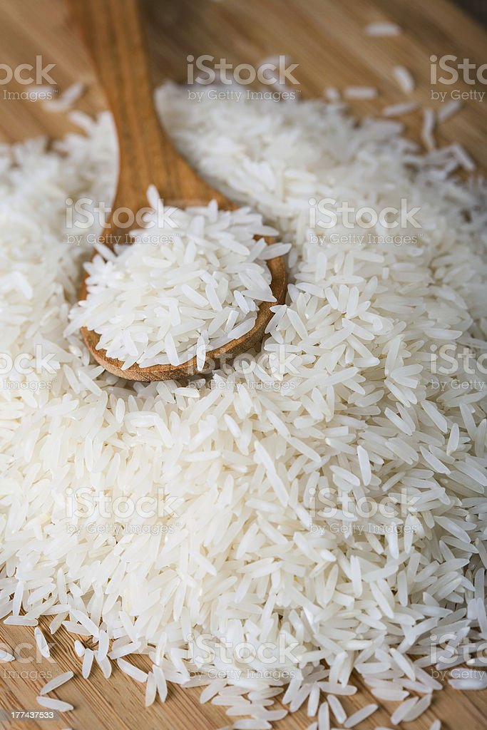 Basmati rice with spoon stock photo