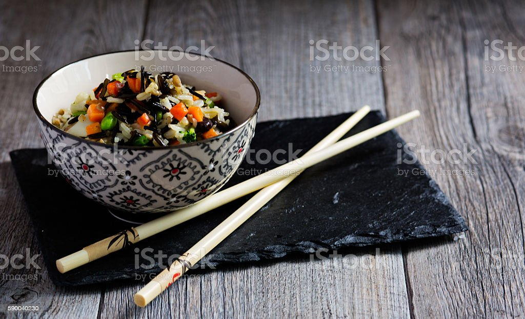 Basmati rice with vegetables stock photo
