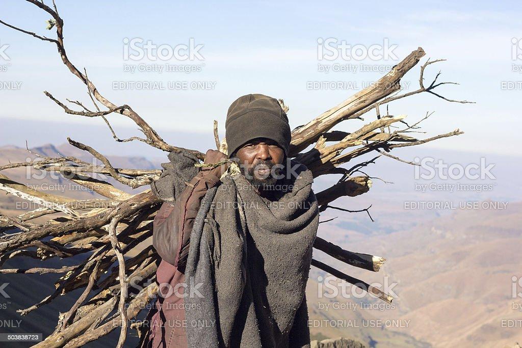 Basotho Man in Sani Pass, Lesotho stock photo