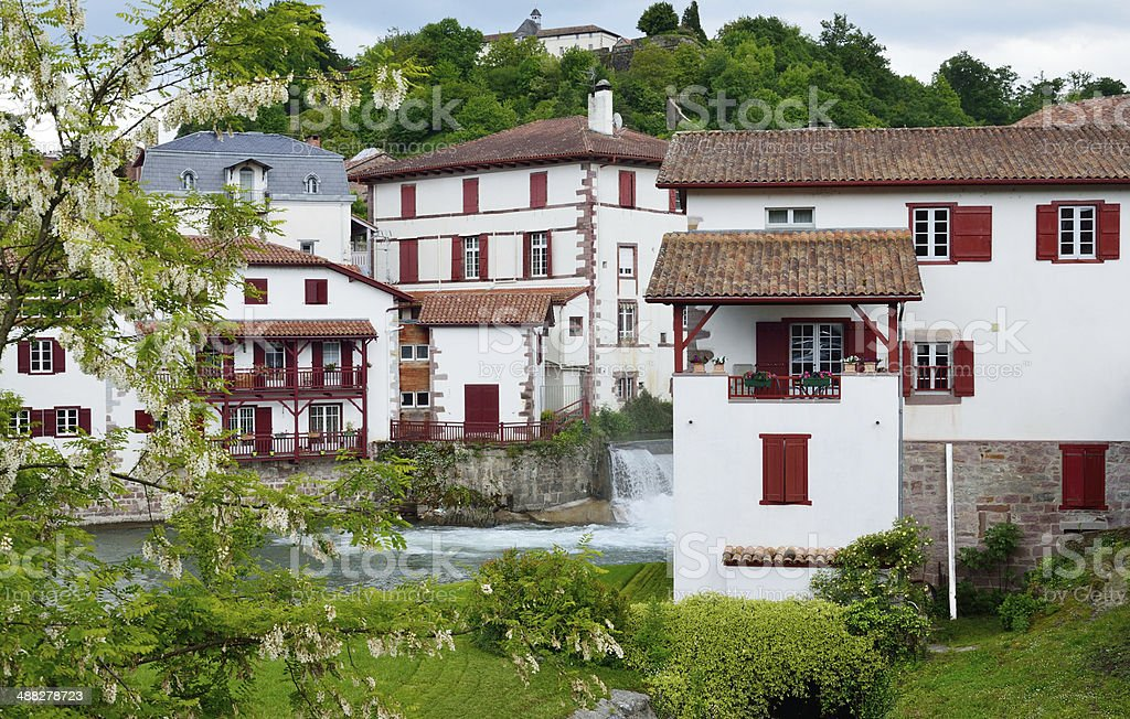 Basque town in the French Pyrenees stock photo