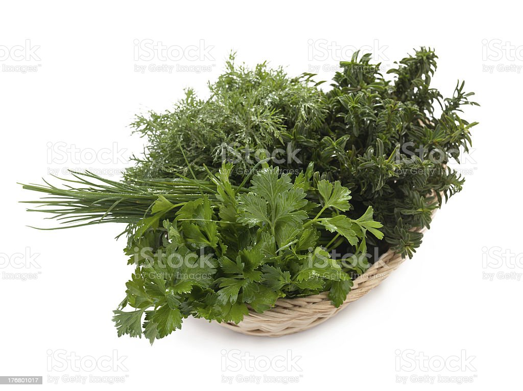 Basquet of fresh herbs royalty-free stock photo