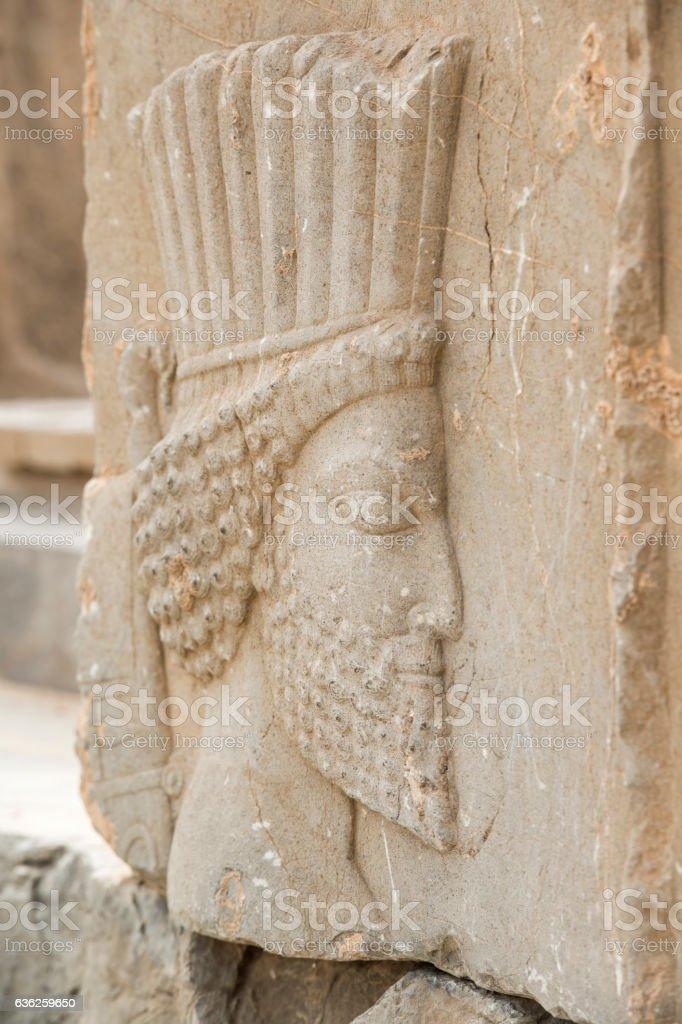 Bas-relief at the Apadana, Persepolis, Iran stock photo