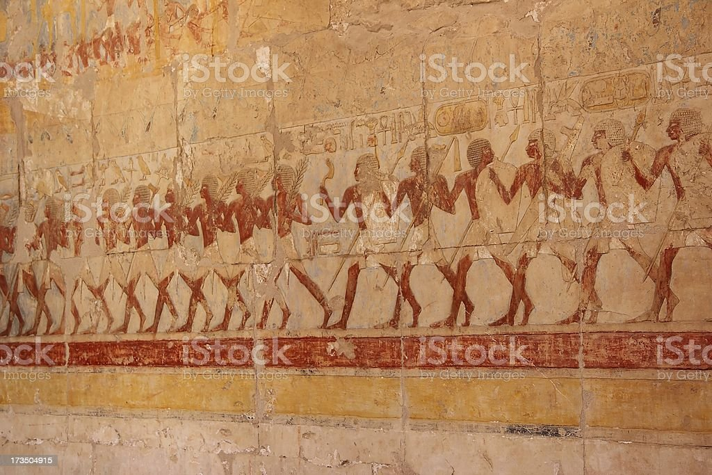 Bas-relief at the Temple of Hatshepsut. royalty-free stock photo