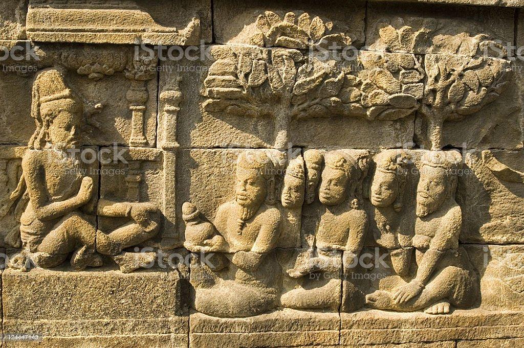 Bas-relief Borobudur Java Indonesia stock photo