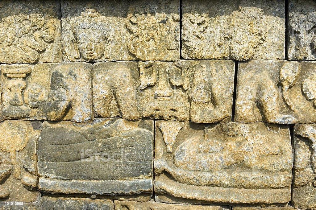 Bas-relief Borobudur Java Indonesia royalty-free stock photo