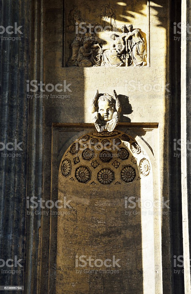 Bas-relief from the Kazan Cathedral stock photo