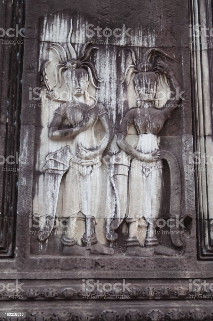 Bas-Relief in Angkor Wat royalty-free stock photo