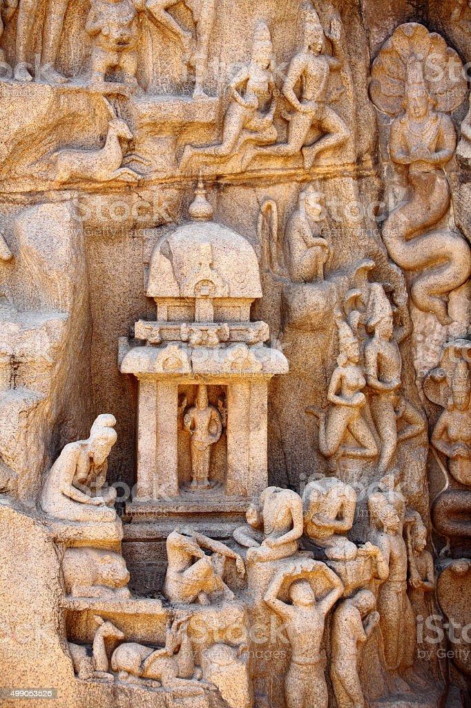 Bas-relief in Mammallapuram, India stock photo