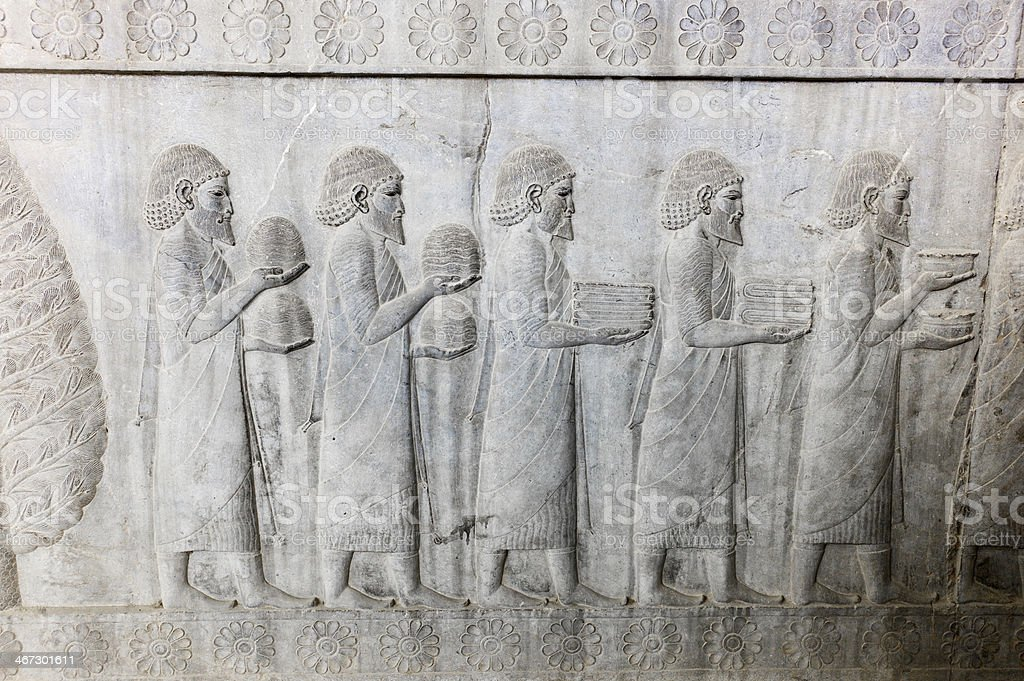 Bas-relief in Persepolis, Iran stock photo
