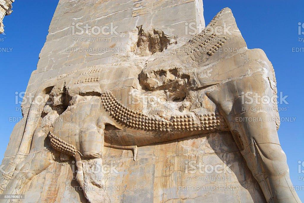 Bas-relief of a lion at Persepolis, Shiraz, Iran. stock photo