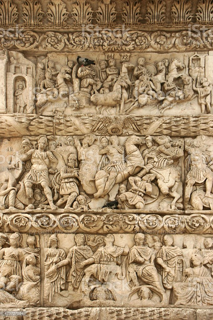 Bas-relief of famous Galerius Arch in Thessaloniki, Greece stock photo